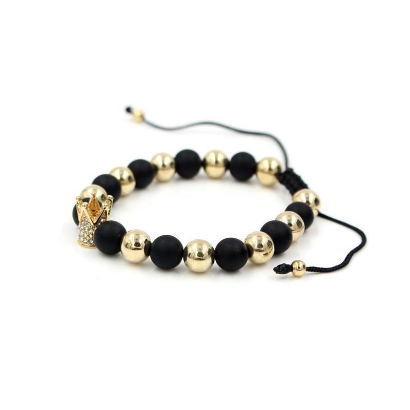PINIYA New Trendy Handmade Brand Men's Crown Charm Bracelet Jewelry Braided Strand Woven Macrame Bead Bracelets for Men Women