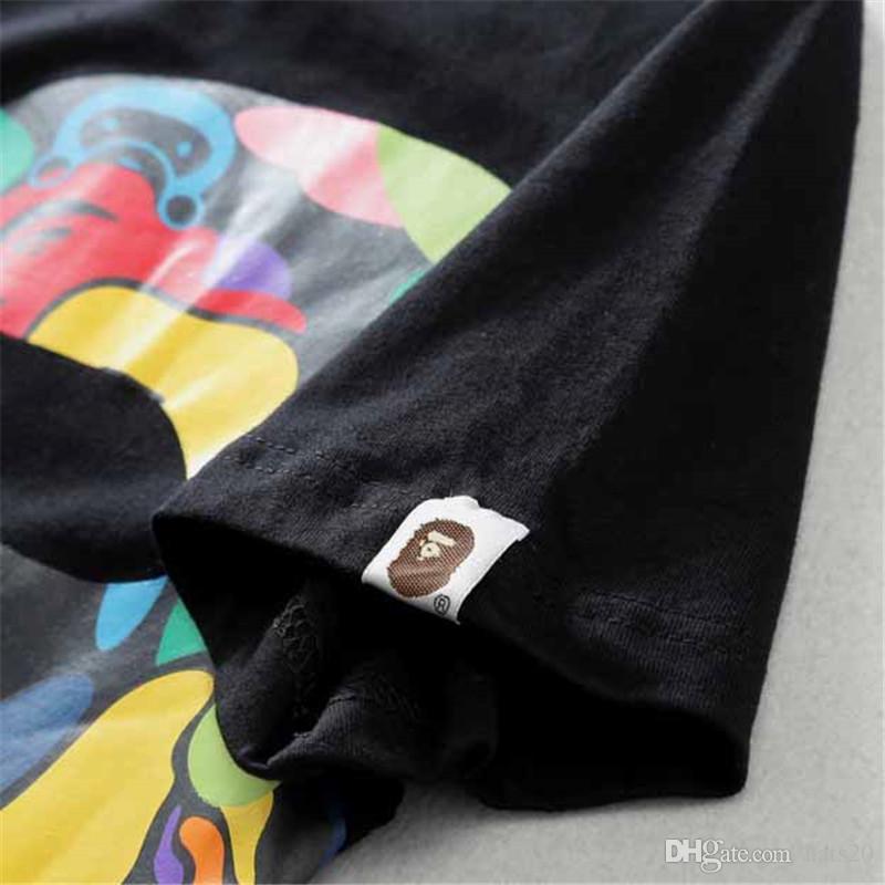 Marée Marque De Bande Dessinée Imprimer Vêtements Pour Hommes Mode Simple Casual D'été T-shirt High Street Sports de Plein Air Coton Top