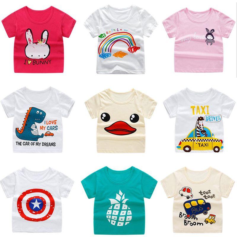 93e3d0946 Toddler Girl Summer Short Sleeve T-Shirt baby boys cotton Animal cartoon  print top Children's bottoming shirt kid clothing tee for 1-6 years