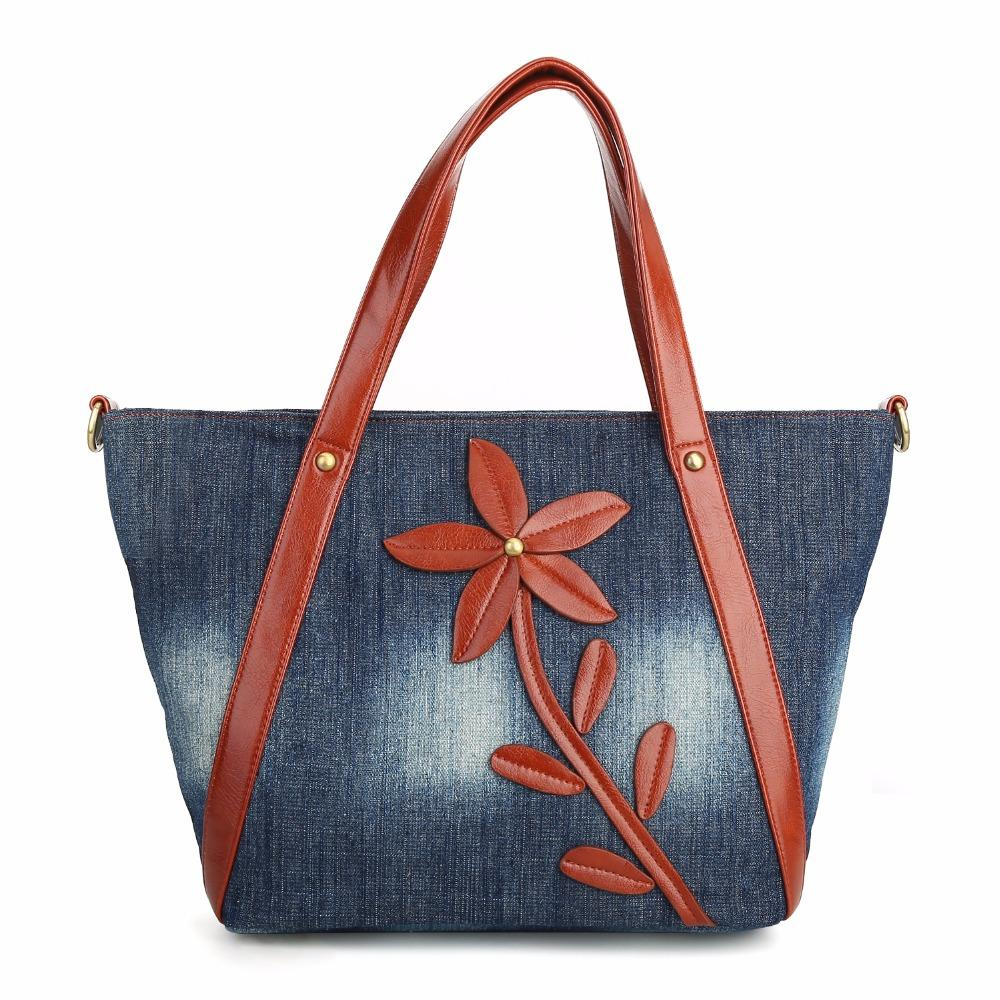 bcfe00353fc KISS KAREN Vintage Fashion Denim Tote Floral Designer Women Bag Durable  Women s Shoulder Bags Jeans Women s Handbags New Arrival