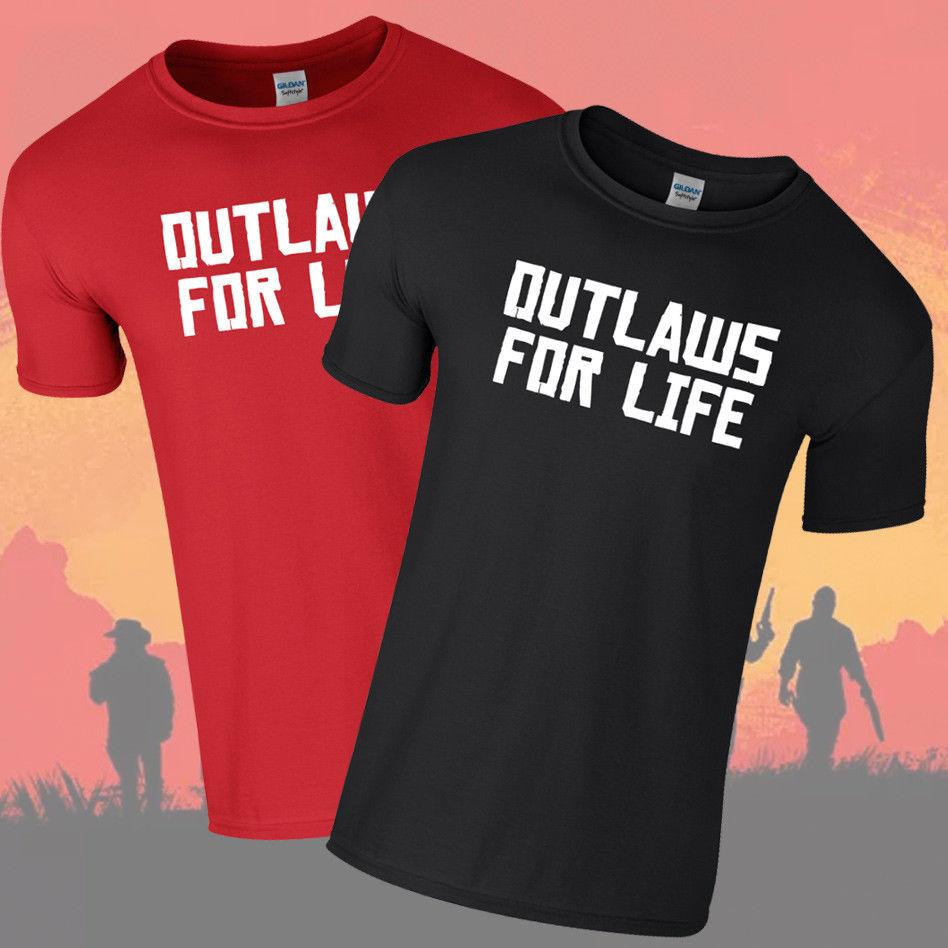 OUTLAWS FOR LIFE Tshirt Tee Red Dead Redemption 2 Rockstar Games PS4 XBOX  RareFunny free shipping Unisex Casual Tshirt top