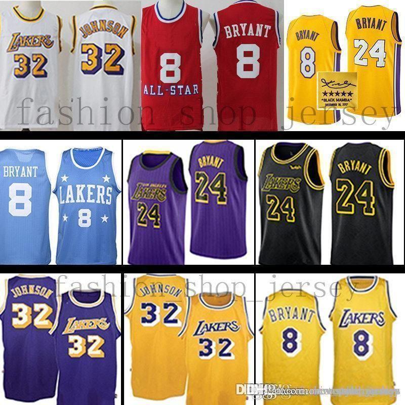 1d968bf923d9 2019 Kobe 24 Kids Laker Los Angeles Retro Jerseys Men Earvin 32 ...