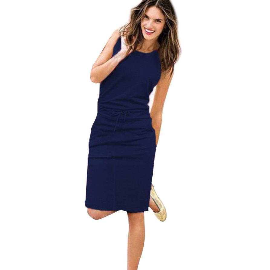 a27d5ab351de Pockets Casual Dress Women Sleeveless O Neck Ladies Midi Dresses Summer  Solid Shift Dress Drop Ship  L Cute Party Dress Black Dresses For Sale From  ...