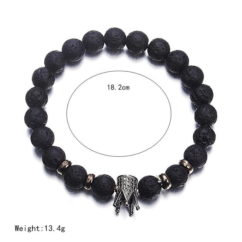 new fashion volcanic stone Bracelet blace white bead bracelet classical gold crown charm bracelet for women men lover gift ns74