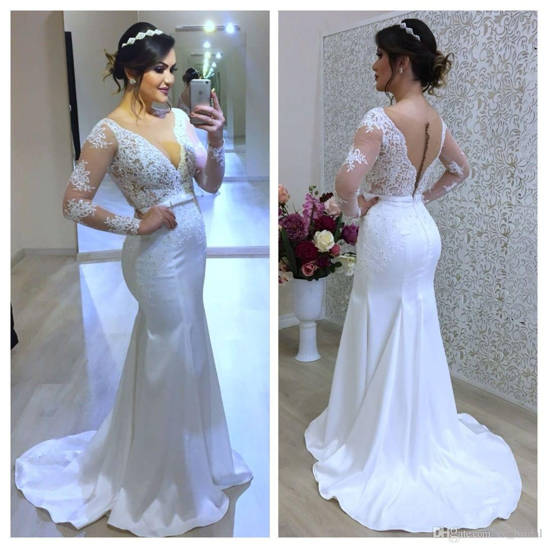 98e5d9af087 Gorgeous V Neck Mermaid Wedding Dresses 2019 Appliques Lace Bride Gowns  Long Sleeveless Sweep Train Custom Made Robe De Mariée Wedding Dress Styles  Backless ...