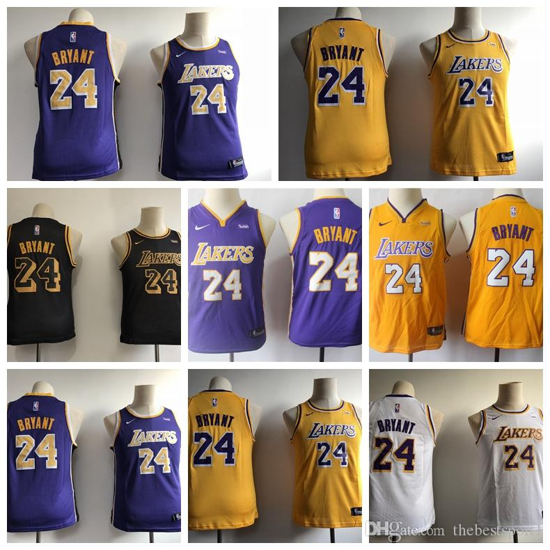 finest selection 1e01d 862a9 YOUTH LA LeBron City 8 KOBE 24 KOBE White Purple Gold 2018/19 Swingman  Jersey - Icon Edition