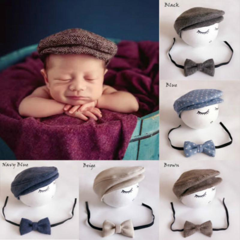 52ae2578817 2019 Infant Baby Cap Newborn Peaked Beanie Cap+Bow Tie Photo Photography  Prop Formal Cap For Baby Outfit Set 0 12M From Lou88
