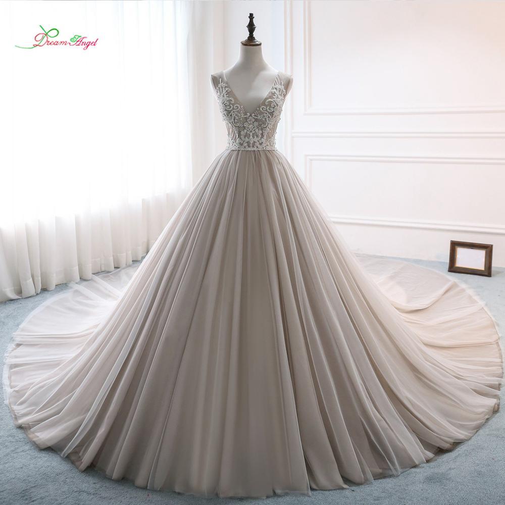 e9ea79f615a Wholesale Sexy Backless V Neck Ball Gown Wedding Dresses 2019 Luxury  Embroidery Beaded Royal Train Bride Gwon Vestido De Noiva Cheap Short Prom  Dresses ...