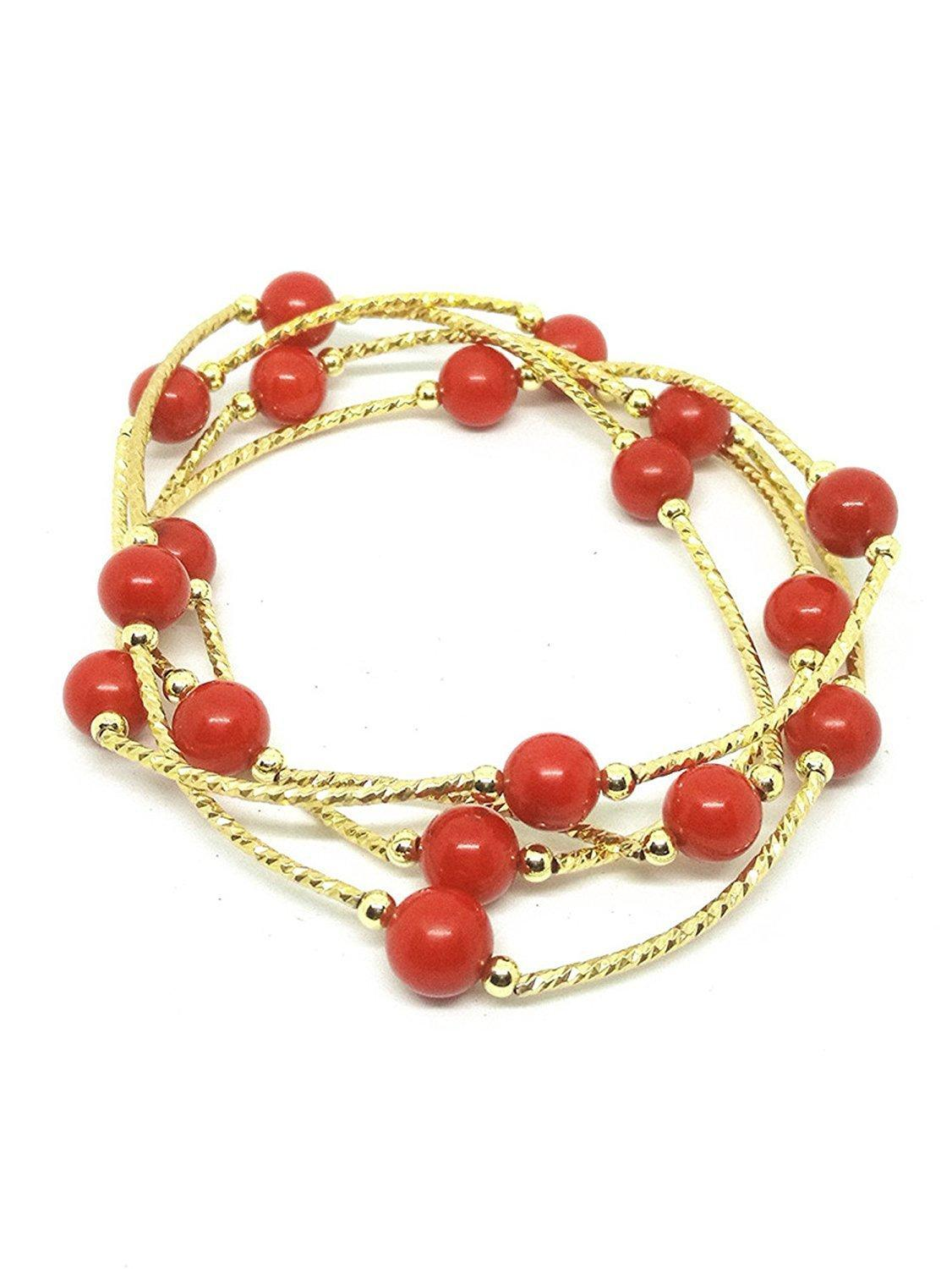 Natural S925 Gold Red Coral Beads Bracelet Necklace Gemstone Jewelry