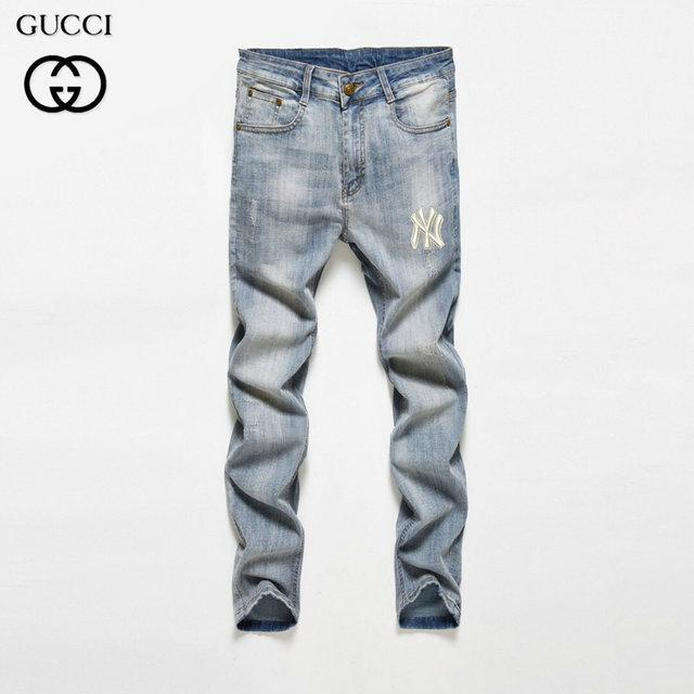 Jeans fashion trend breathable mens solid color tiger embroidery mens casual comfort jeans