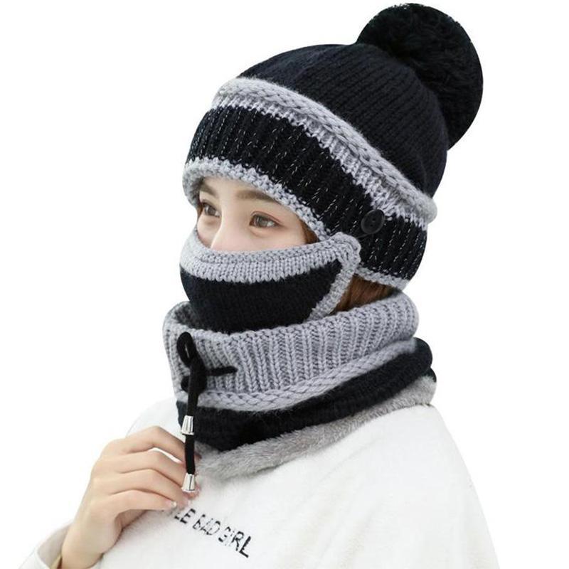 Compre Nueva Balaclava Sombrero De Punto De Mujer Bufanda Gorras Cuello Más Cálido  Sombreros De Invierno Para Hombres Mujeres Skullies Gorros Cara ... d3405a87f6f