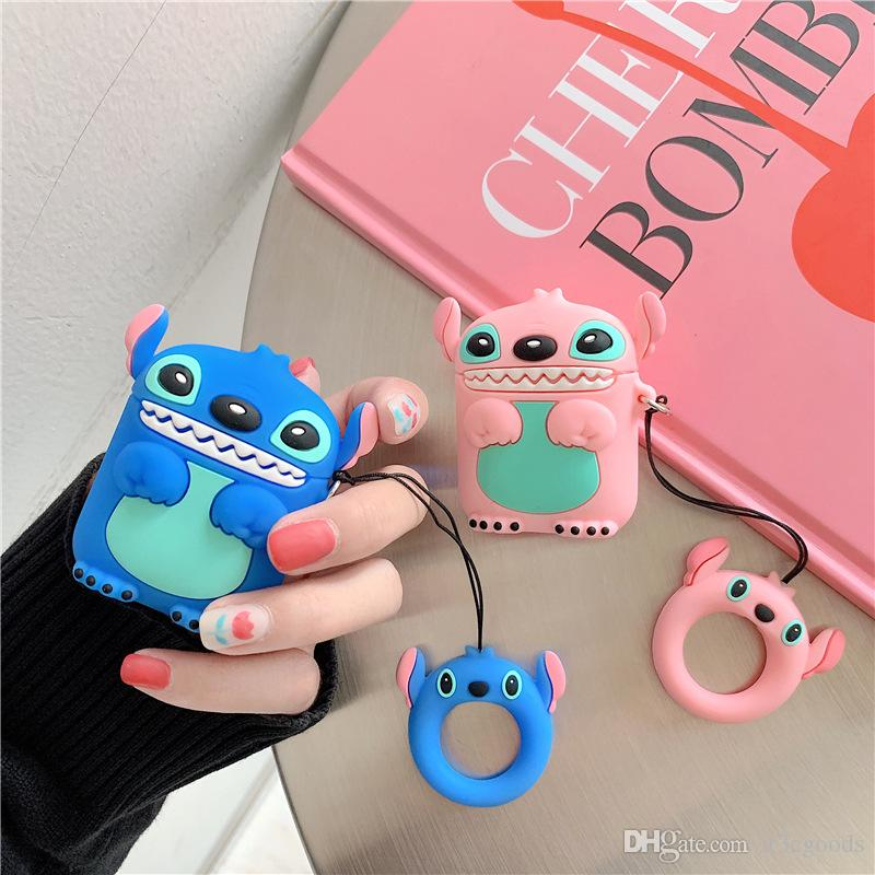 Cartoon Silicone Cover for Apple Air pods Cute Earphone Case 3D Headphone case for Earpods Accessories 2 colors