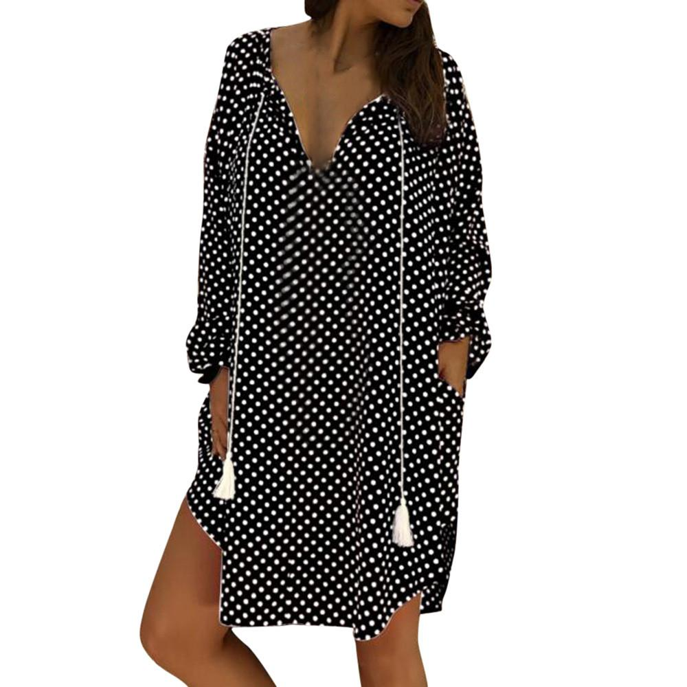 43bda64f17a Stylish Bar 2019 Women s Plus 5xl Vitality Dress Women Sexy Polka Dot Print  V Neck Long Sleeve Dresses Ladies Party Club Dress