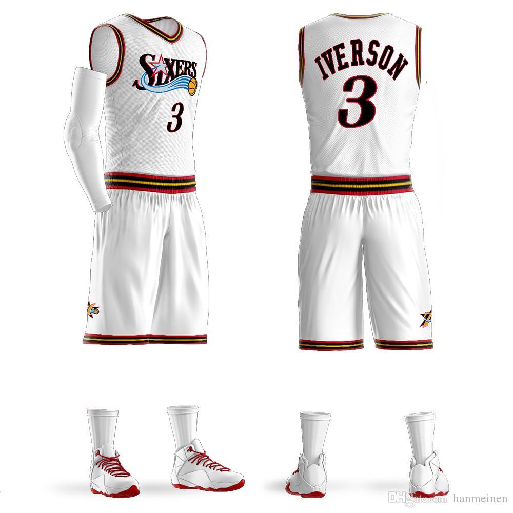 0ebb3e47 Compre 2018Men Juventud Allen Iverson Baloncesto Jersey Sets Conjuntos De  Uniformes Adultos Camisas Deportivas Ropa Transpirable Camisetas De  Baloncesto ...