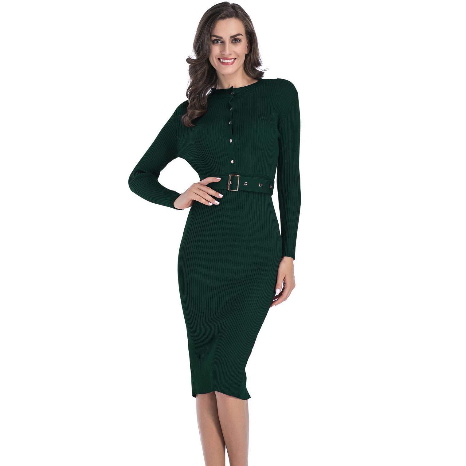 5f2fae85232 Womens Business Dresses Knit Dress Female Solid Color with Belt Long ...