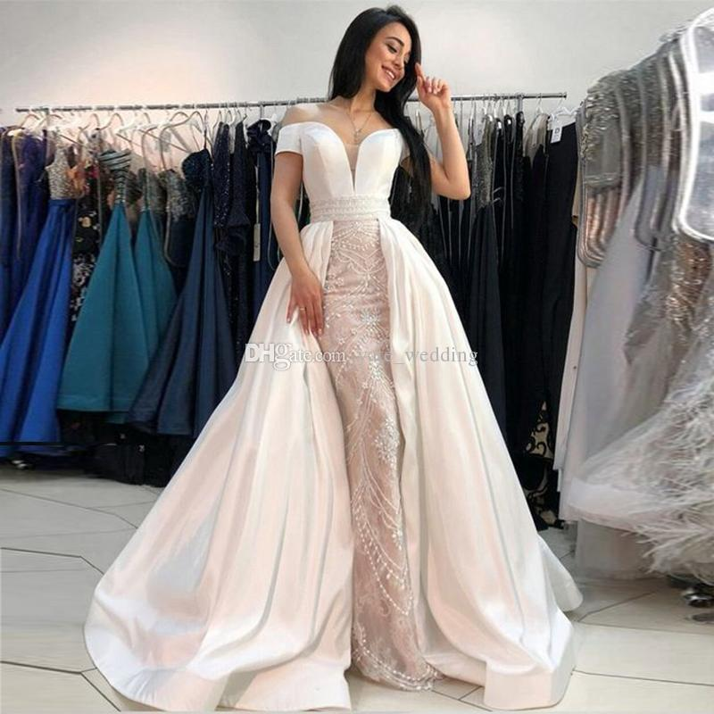 b6f2a38e Off The Shoulder Lace Satin Prom Dresses Floor Length Beading Ivory Nude  Mermaid Formal Evening Dresses With Over Skirt Betsy And Adam Prom Dresses  ...