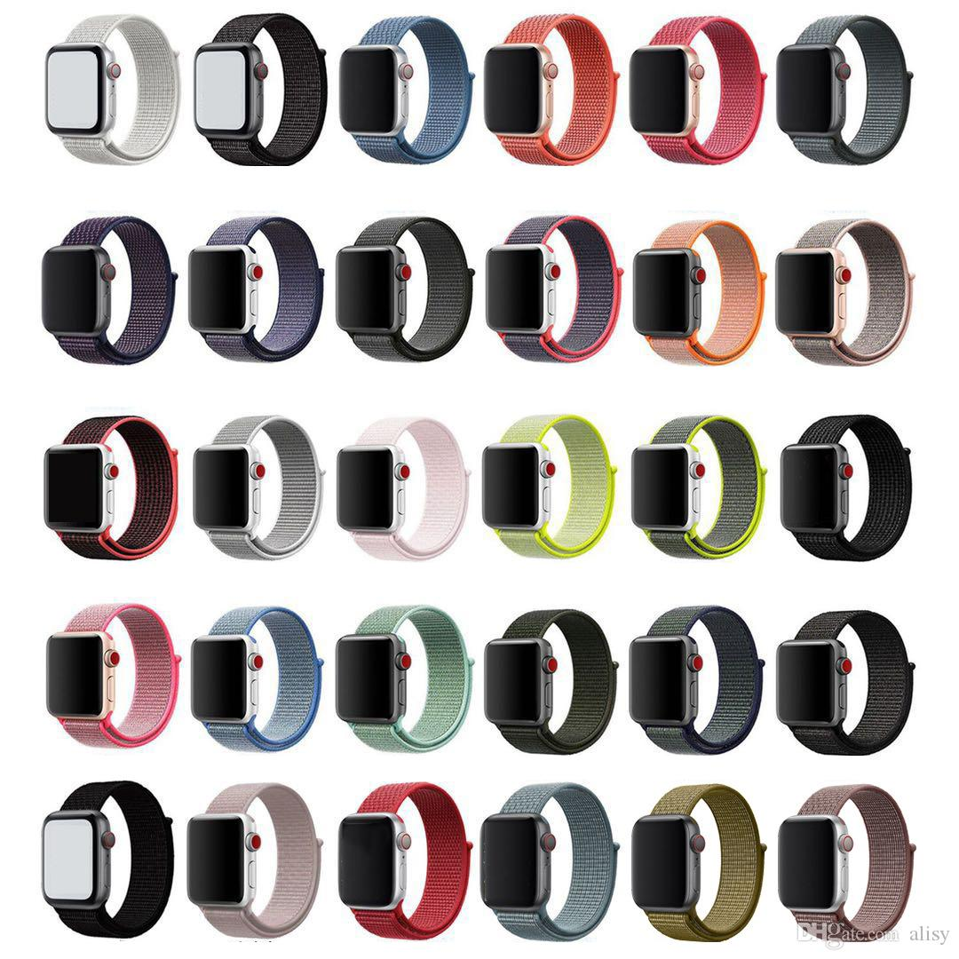 Nylon Strap For Apple Watch Band 4 3 2 Sport Bracelets Adjustable  Breathable Smart Watch Band Dual Color 38mm 40mm 42mm 44mm