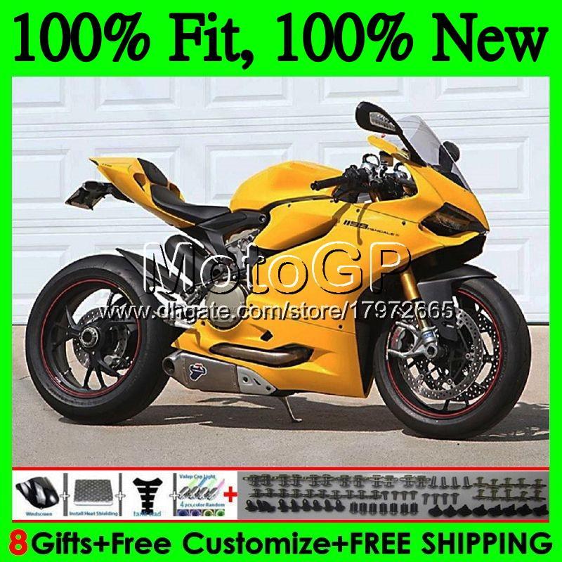 Тело инъекции для Ducati 1199R 899р глянцевый желтый 899 1199 12 13 14 15 16 15GP0 899S Р 1199S 2012 2013 2014 2015 2016 обтекателя кузова