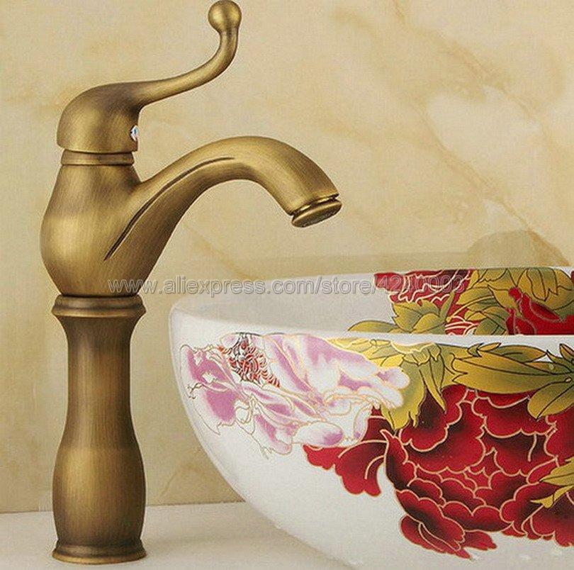Badezimmer Becken Wasserhahn Antike Bronze-Finish Messing Waschbecken  Wasserhahn Einhand-Schiff Waschbecken Wasserhahn Mischer Knf066