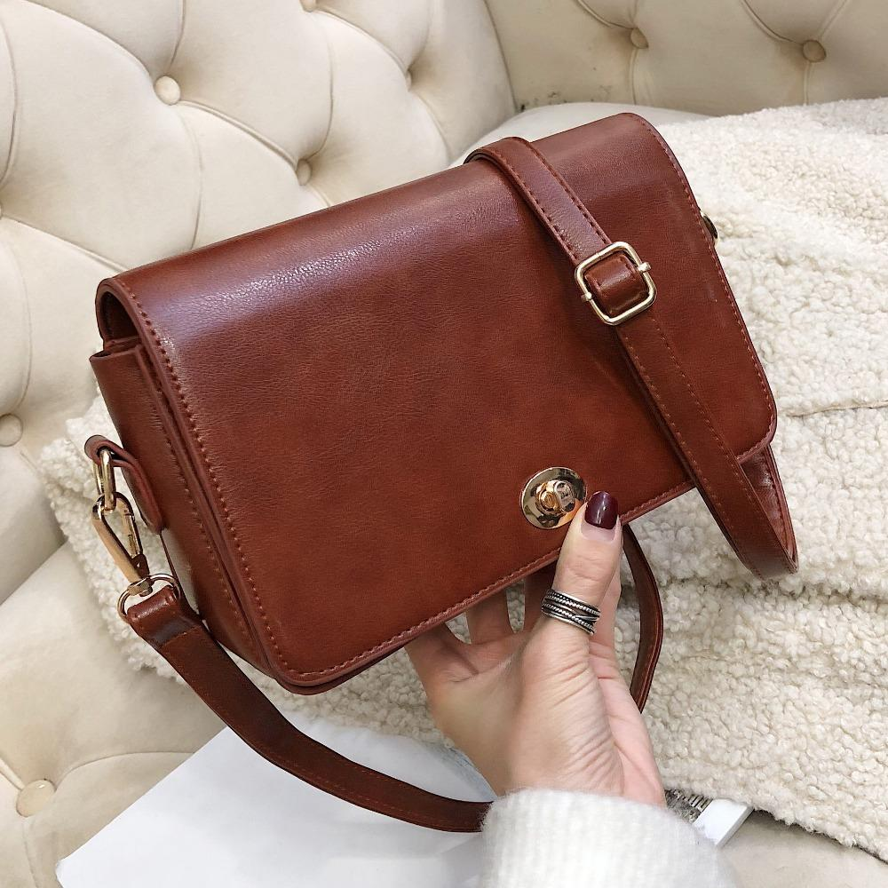 d7e5d33ee95d Simply Vintage Leather Crossbody Bags For Women 2019 Fashion Korean Style  Girls Messenger Bags Ladies Small Handbags and Purses