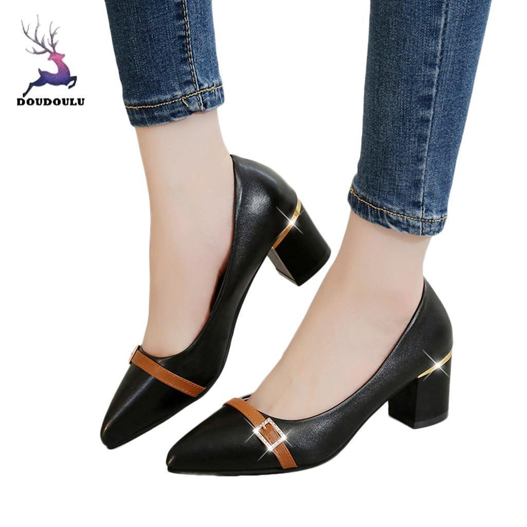 129fc1e1cd6 Dress 2019 New Women Ladies Shoes Fashion Pointed Toe Square Heel Loafers  Casual Shoes Single Shoes Woman Zapatos De Mujer Stacy Adams Shoes Purple  Shoes ...