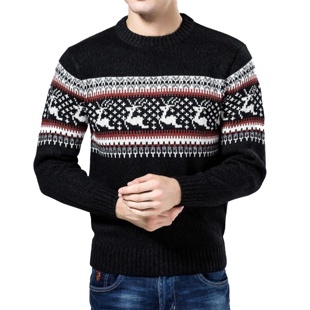 b451006c7ad82 Compre Hombres Reno Navideño Nieve Hombre Otoño Invierno Suéter Chaqueta De  Punto Chaqueta De Punto Copos De Nieve O Cuello Suéter Blusa Navidad   G8 A  ...