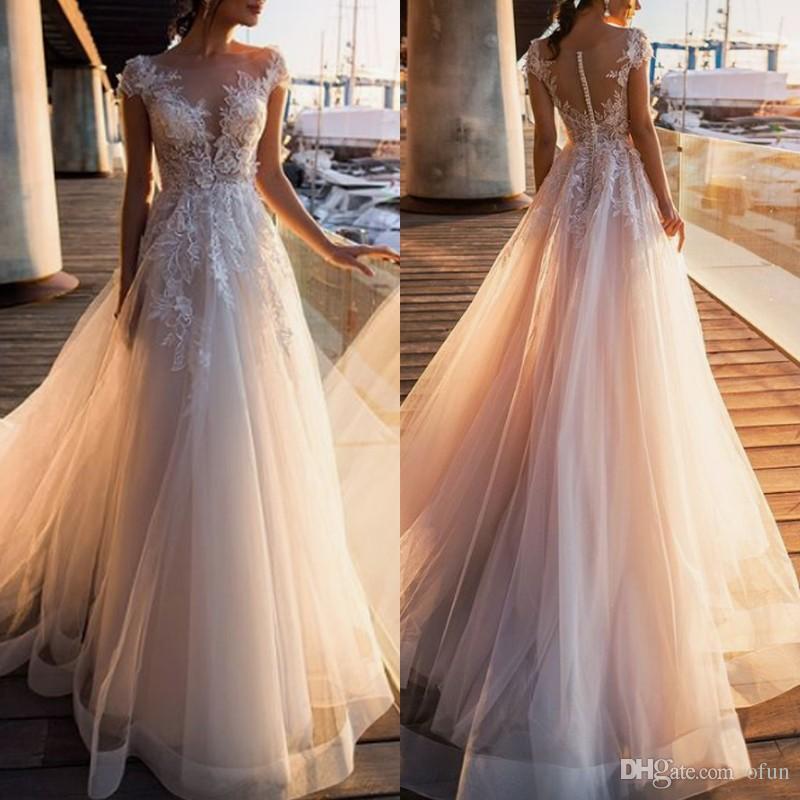 05ea9a136e15 Discount A Line Lace Appliques Tulle Robe De Mariée Cap Sleeve V Neck  Covered Button Long Wedding Dress Custom Made Beach Boho Bridal Gown High  Fashion ...