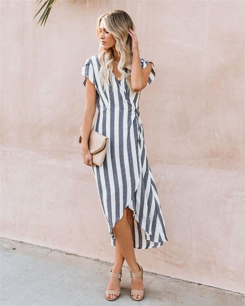 Women dress Cotton Blend asymmetric Hem Ribbon Deep V-neck Split Short sleevel Striped print Sling Lady Long Dresses skirt Size S-XL
