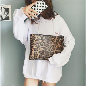 Women's Leopard print handbag Ladies Leopard Print Clutch Bag Envelope Cosmetic Bag PU Retro Fashion Handbag LJJW149