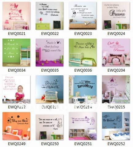 220 designs 100pcs / lot large Size Vinyl Wall Decal Stickers Wholesale  ,free shipping vie EMS UPS