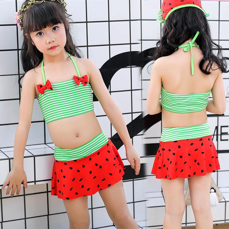 55311b56ee3e1 2019 2019 Baby Girl Summer Watermelon Swimsuit Strap Halter Tops Swimming  Bottom Bikini Set Beachwear Bathing Suit From Aimea, $20.99 | DHgate.Com