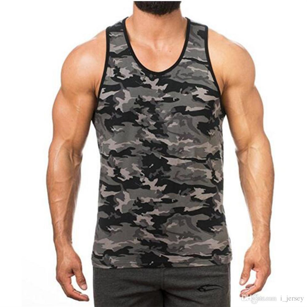 a0c356fbe35a67 2019 2018 Fitness Summer Camouflage Men Cotton Tank Top Bodybuilding  Singlets Undershirt Male Vest Muscle Sleeveless Tops Shirts  158267 From  I jersey
