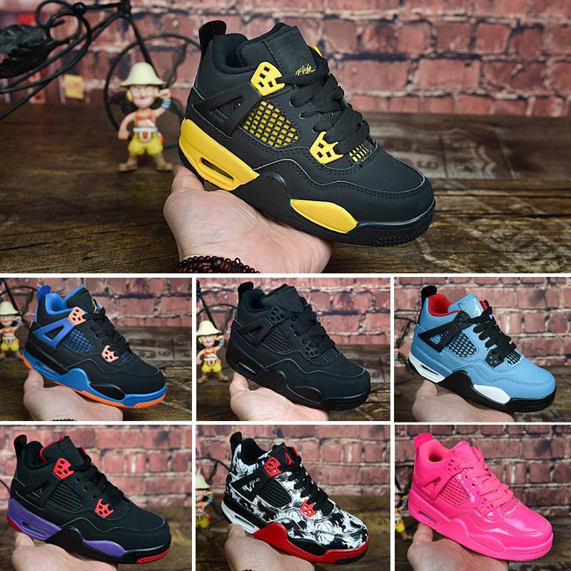 Nike Air Jordan 4 2019 Neue Kinder Schuhe 4 Kinder Basketball Schuhe Jungen Und Mädchen Kinder 4 S Sport Basketball Sneakers Schuhe Jugend Sneakers