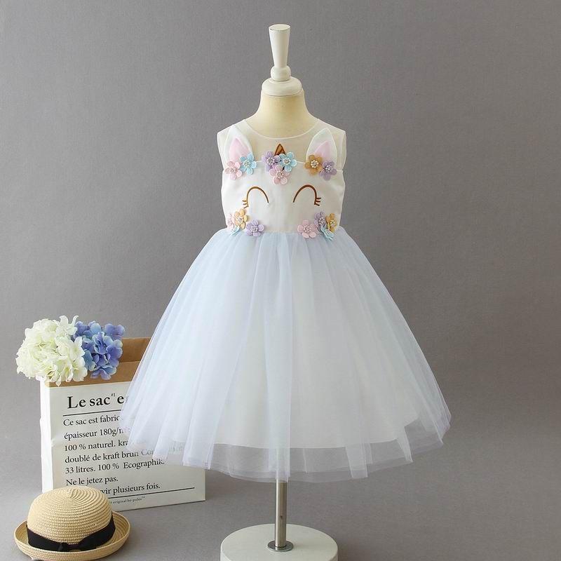 a394ef7d8 Unicornio vestido de niña 2019 Nuevo bordado de perlas niña de las flores  vestido de princesa para la boda de los niños ropa 2-10Y E1009