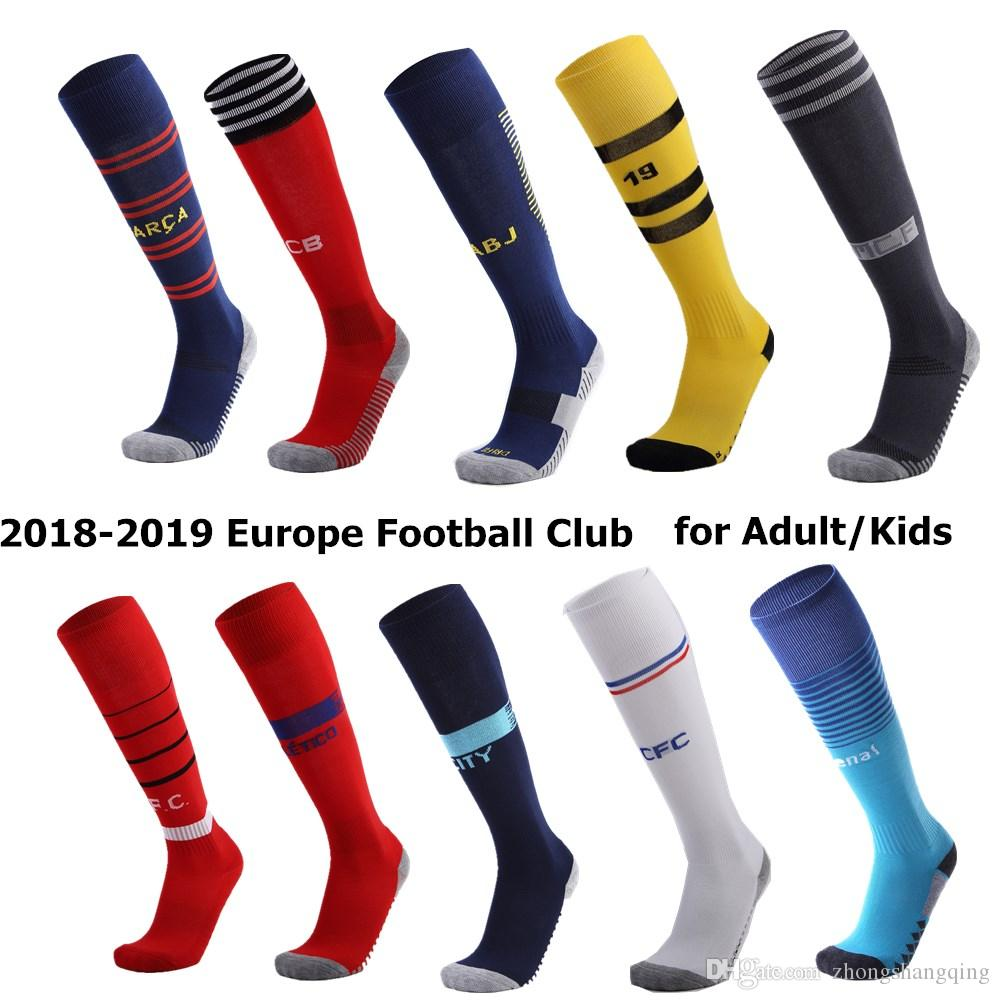 Europe Football Club Sports Chaussettes Genou Haute Respirant Football Professionnel Basketball Long Stocking Chaussette Sport Adulte Enfants