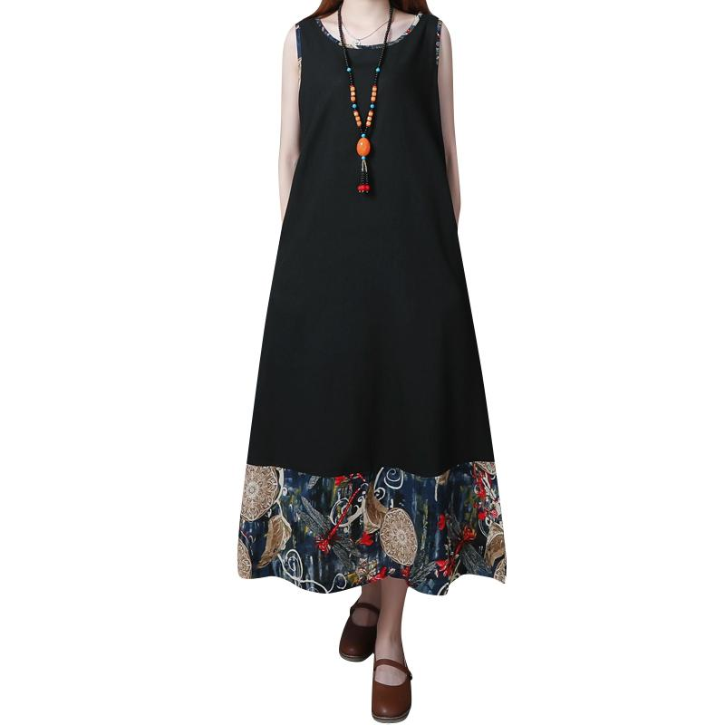 2b6effe93583 Ethnic Women Long Summer Dress Splicing Contrast Printed Round Neck ...