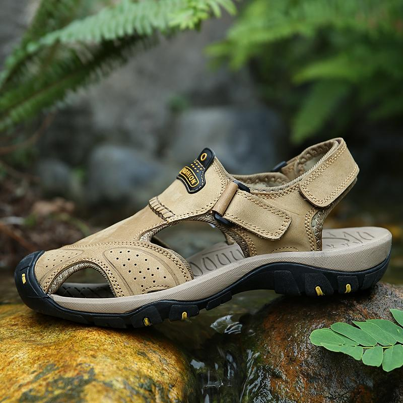 Hot Sale-Men Shoes Leather Sandals Summer Beach Breathable Sandalias Hombre Verano Hook & Loop Outdoor Shoes Mans Footwear Rubber Slipper