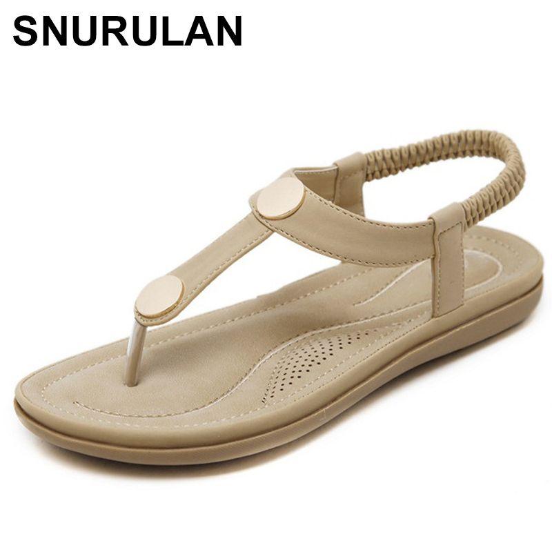 37967b2ef51 SNURULAN2018 Summer Shoes Women Bohemia Beach Flip Flops Soft Flat Sandals  Woman Casual Comfortable Plus Size Wedge Sandals E458 Boots For Men Wedge  Shoes ...