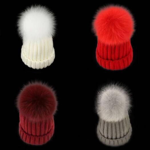 c08a09a52 Adult Children Caps Unisex Parent-child Autumn Winter Warm Hat Leather  Grass Fox Fur Big Hair Ball Hat Knitting Children Wool Hat Beanie Cap