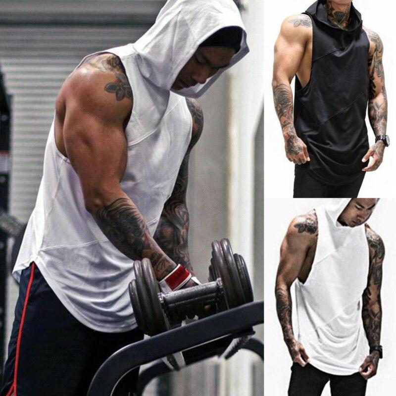 Gym Men Sleeveless Vest Bodybuilding Sport Hooded Casual Tank Top Muscle T-Shirt