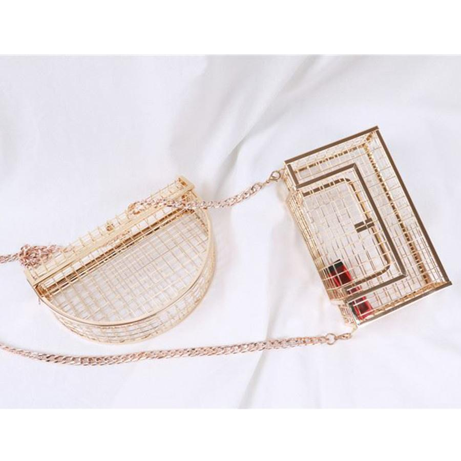 good quality Vintage Women Hollow Out Box Evening Bag Party New Chains Shoulder Crossbody Bags Art Wedding Day Clutch Bag Cage Handbag