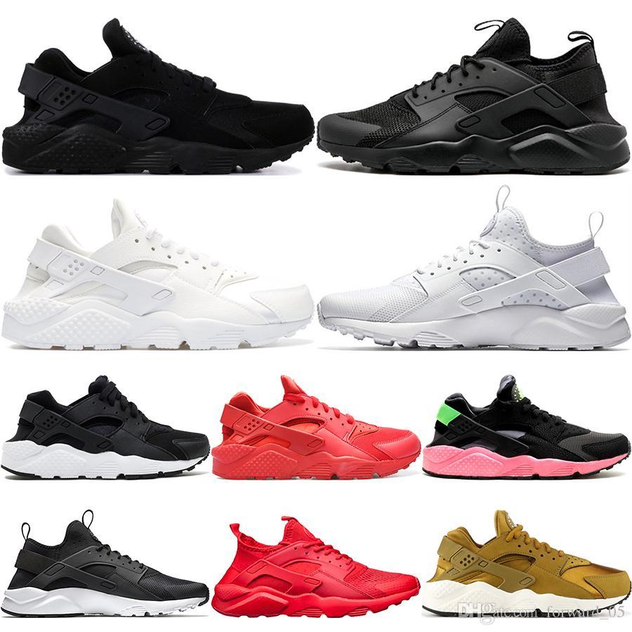 newest 27fde 6b450 Acheter 2019 Marque Huarache Run 1.0 4.0 Tripes Noir Blanc Rose Rose  Nouveau Hommes Femmes Chaussures De Course Designer Sport Sneakers Taille  36 45 De ...