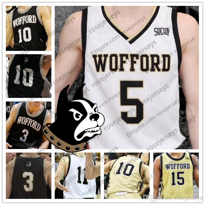 low priced e45dd 095af Custom Wofford Terriers College Basketball Black Gold White Any Name Number  #3 Fletcher Magee 33 Cameron Jackson 10 Nathan Hoover Jerseys