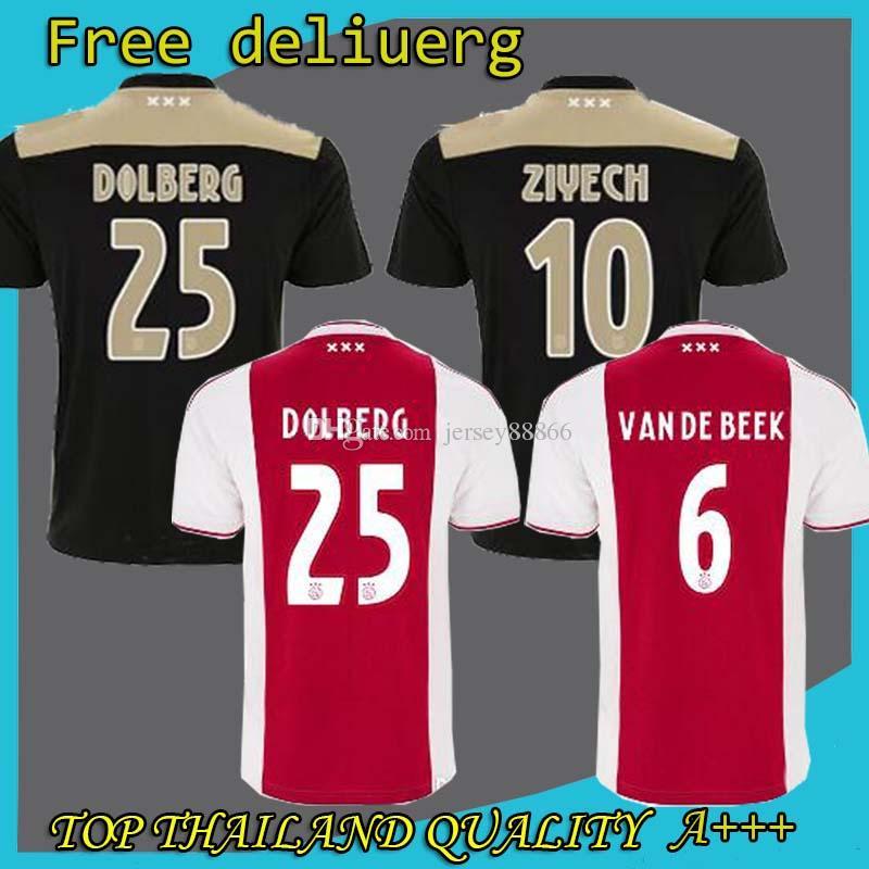 dabbdc4ea 2019 Home Red White Soccer Jerseys 18 19 Ajax Away Soccer Shirt 2019  10  TADIC  21 DE JONG  4 DE LIGT  25 DOLBERG  22 ZIYEC Football Uniform From ...