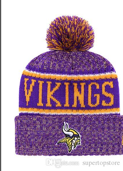 90bc665f NEW Striped Sideline Design Minnesota Sport Cuffed Knit Hat Wool Bonnet  Warm Cheap Beanies Hip Hop Vikings Knitted Skull Caps for Men Women