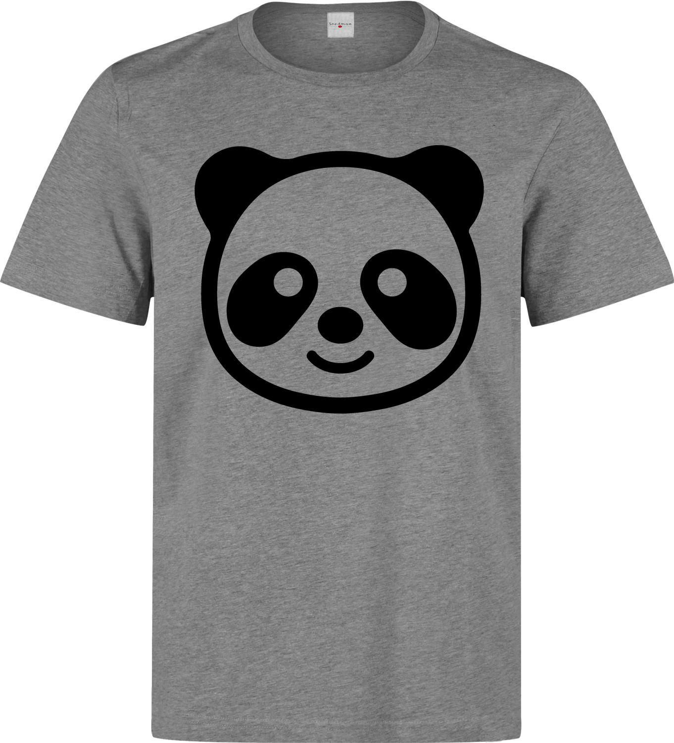 d90a07625ac Cute Panda Bear Happy Face Graphic Artwork Men S Grey T Shirt Design ...