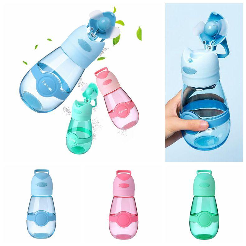 3 Colors 400ml Fan Cup Fans Water Bottle Outdoor Portable Sports Cup Travel Mug Summer Cool Fan Cups USB Charge Student Mug CCA11714 10pcs