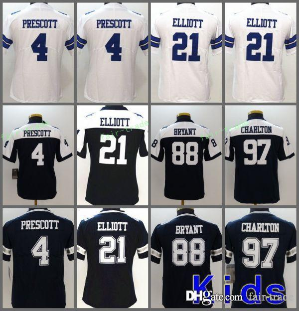 low priced d400d 41d2a Youth Dallas Jerseys 4 Dak Prescott Cowboys 21 Ezekiel Elliott 82 Jason  Witten 11 Cole Beasley 88 Dez Bryant 97 Taco Charlton Stitched Kids