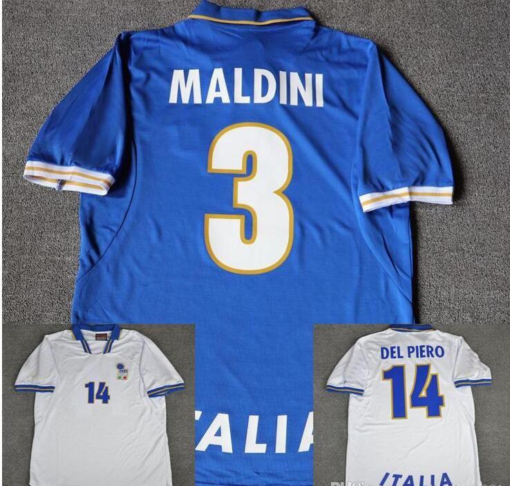 d2777a94e7 1996 Italia Casa Azul Visitante Blanco Camisetas De Fútbol 3 Maldini 19  Chiesa 14 Del Piero 20 Ravenelli 6 Nesta 21 Zola 96 Italia Camisetas De  Fútbol Por ...