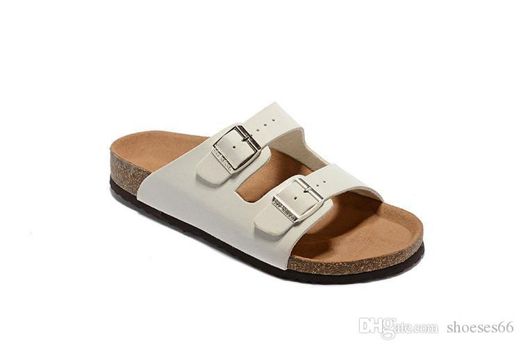 04d9e2338 Men S Flat Sandals Women Casual Shoes Double Buckle Arizona Summer Beach  Top Quality Leather Slippers Shoes For Women Nude Wedges From Shoeses66